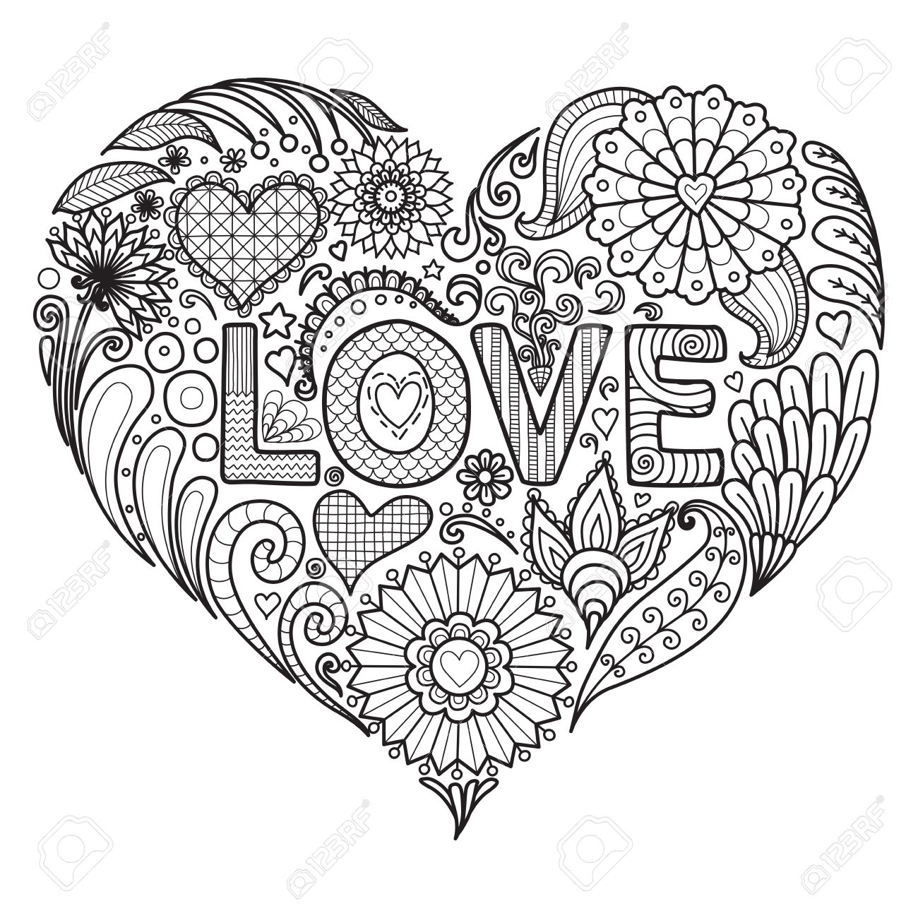 Fleurs Et Textes D Amour Dans La Conception En Forme De Coeur Pour Le Livre à Colorier Pour Les Adultes Cartes Etc