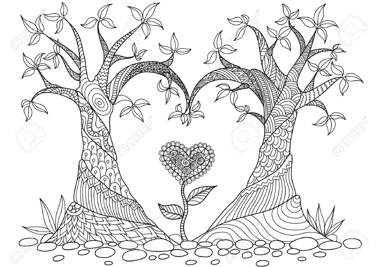 two trees bend into heart shape line art design for coloring book cards t - Coloring Book Trees