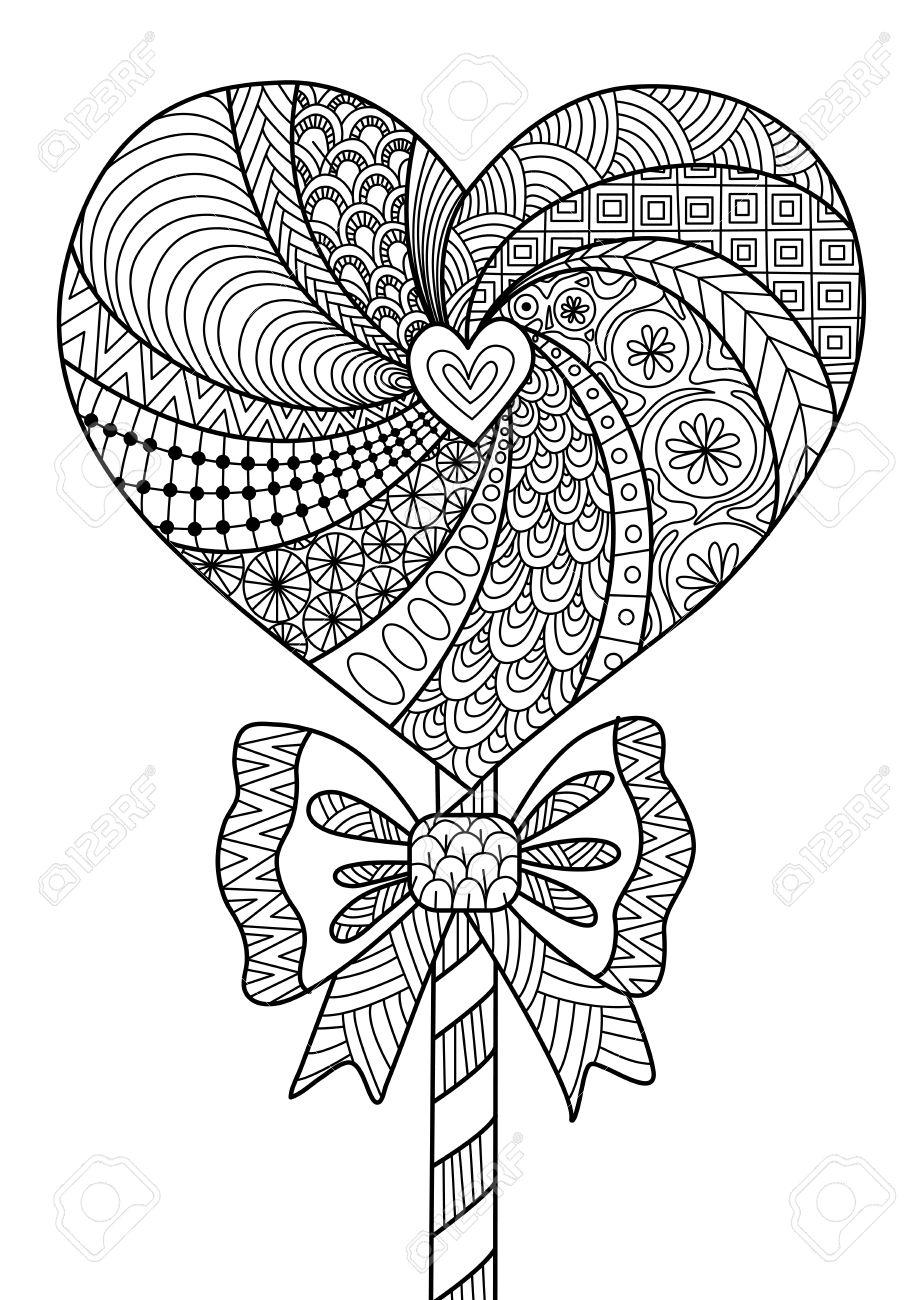 El Diseño Del Arte De Línea Lollipop Del Corazón Para Colorear Para