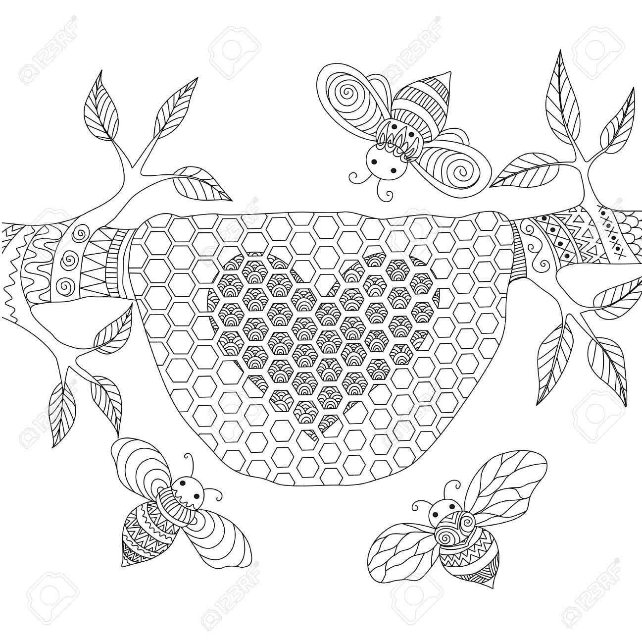 Line Art Design Of Honey Bees Flying Around Beehive For Coloring Pages Adult Stock Vector