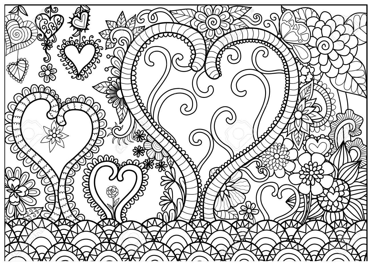 Heart Forest Line Art For Coloring Book Adult And Cards Stock Vector