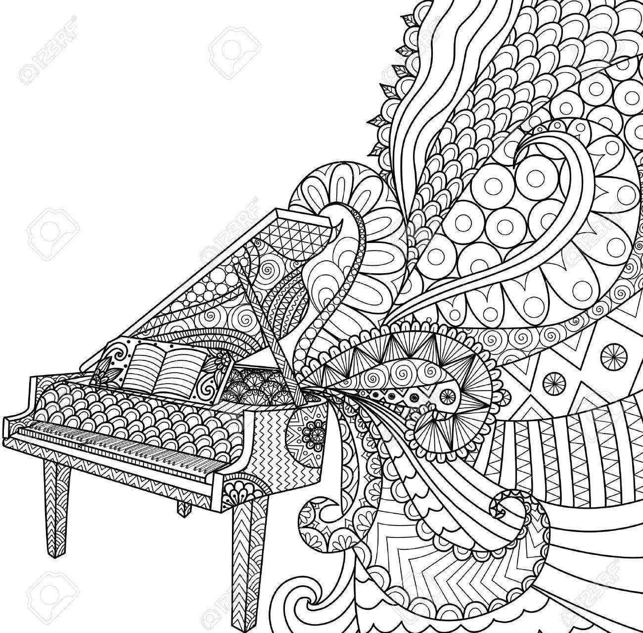 Doodles Del Diseño Del Piano Para Colorear Para Los Adultos ...