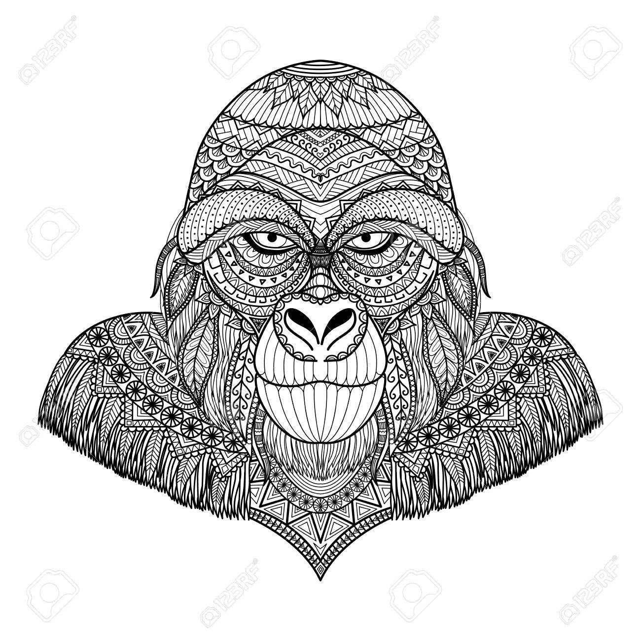 Clean Line Doodle Art Of Gorilla For Adult Coloring Book Pages ...