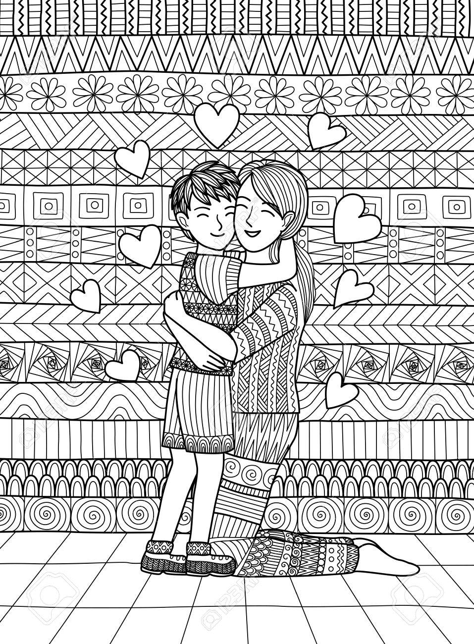 The coloring book clean - Son And Mom Squeezing And Showing Love Clean Lines Doodle Design For Coloring Book For
