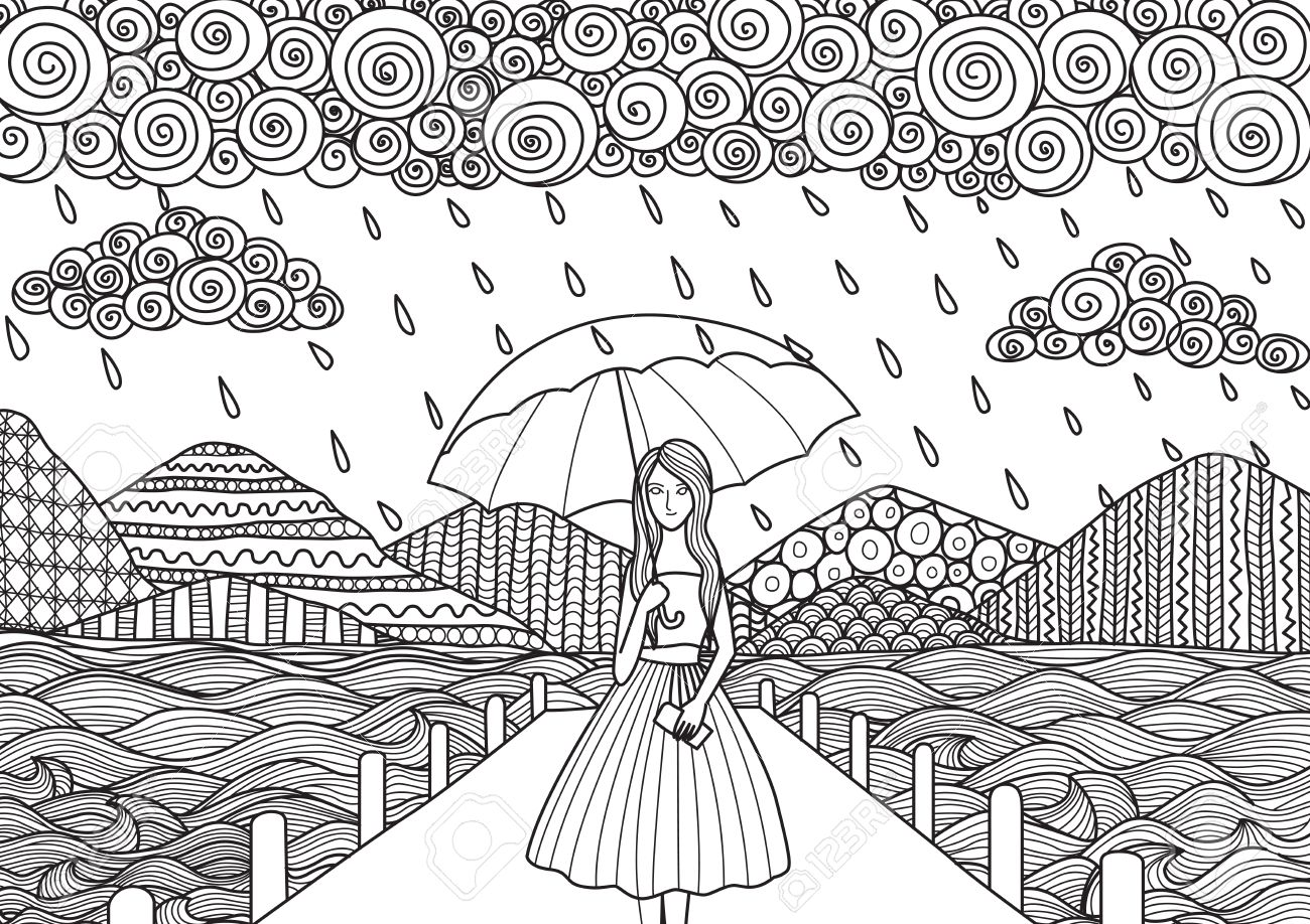 Beautiful Girl Walking On The Bridge While Its Raining Doodle Art Design For Adult Coloring