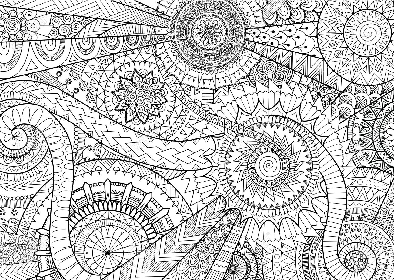 大人の塗り絵と背景の複雑なマンダラ運動デザインのイラスト素材ベクタ