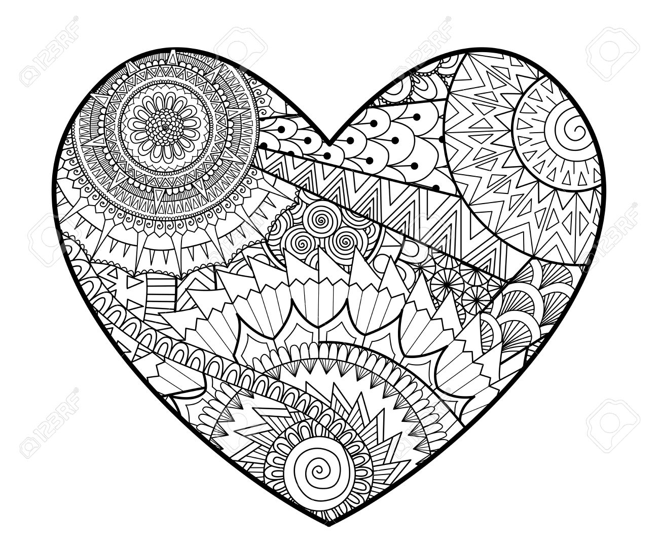 zendoodle in heart shape for coloring books for adult , cards,..