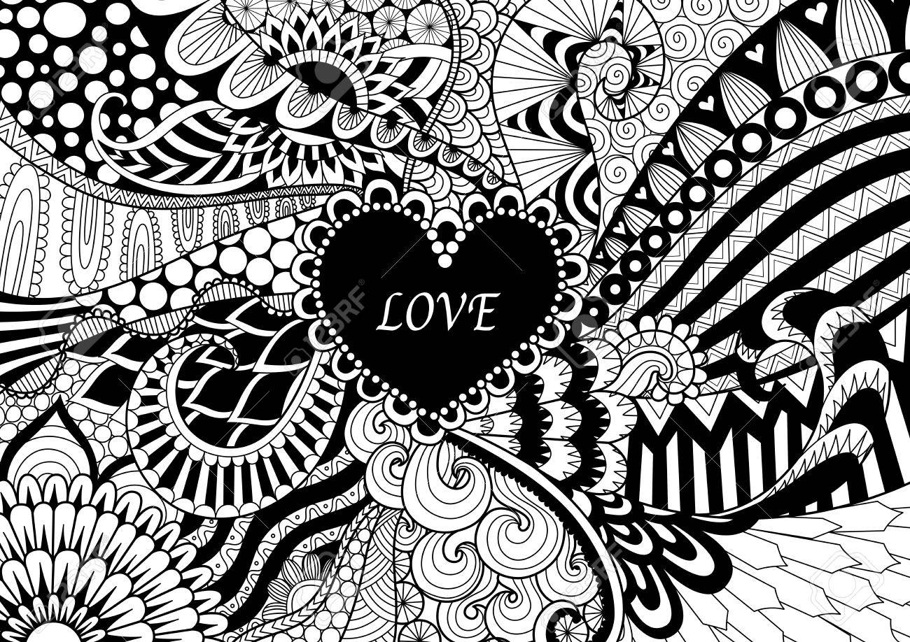 Zendoodle Design Of Heart Shape On Abstract Line Art Background