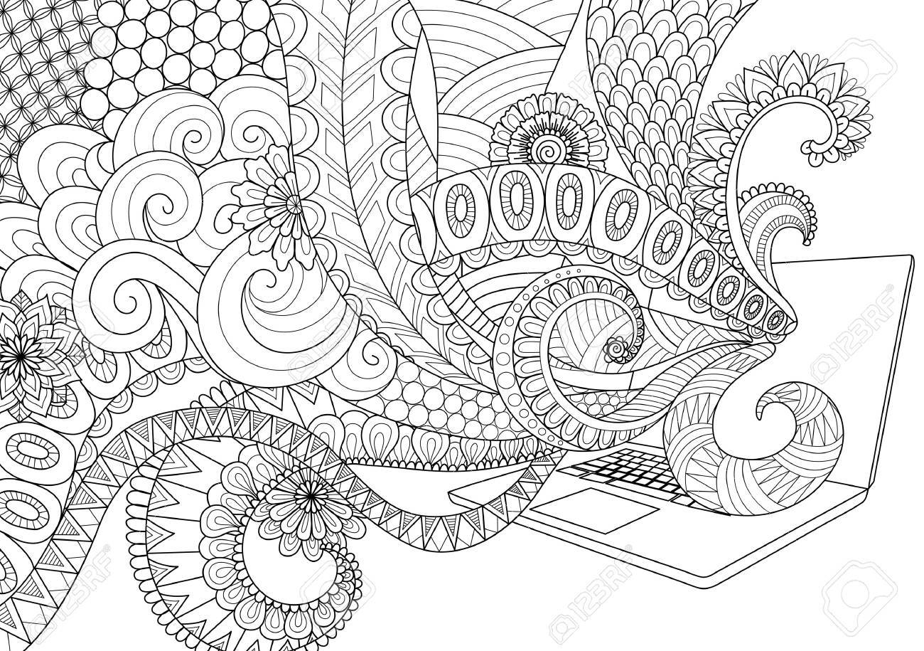 Doodle Design Of Fun Line Art Flowing Out Laptop For Adult Coloring Book Pages