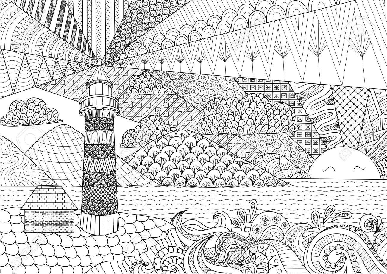 El Diseño Del Arte Del Paisaje Marino Por Línea De Libro De Colorear ...