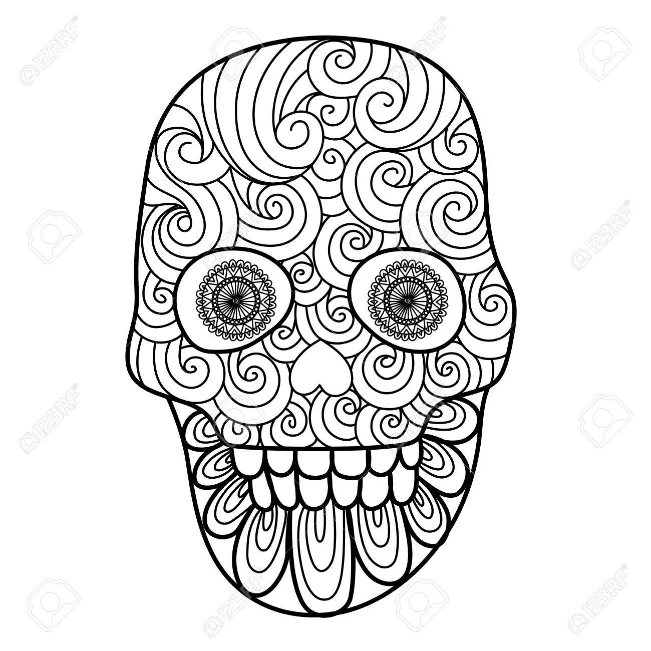 Lines Art Design Of Unique Skull For Adult Coloring Pages,tattoo ...