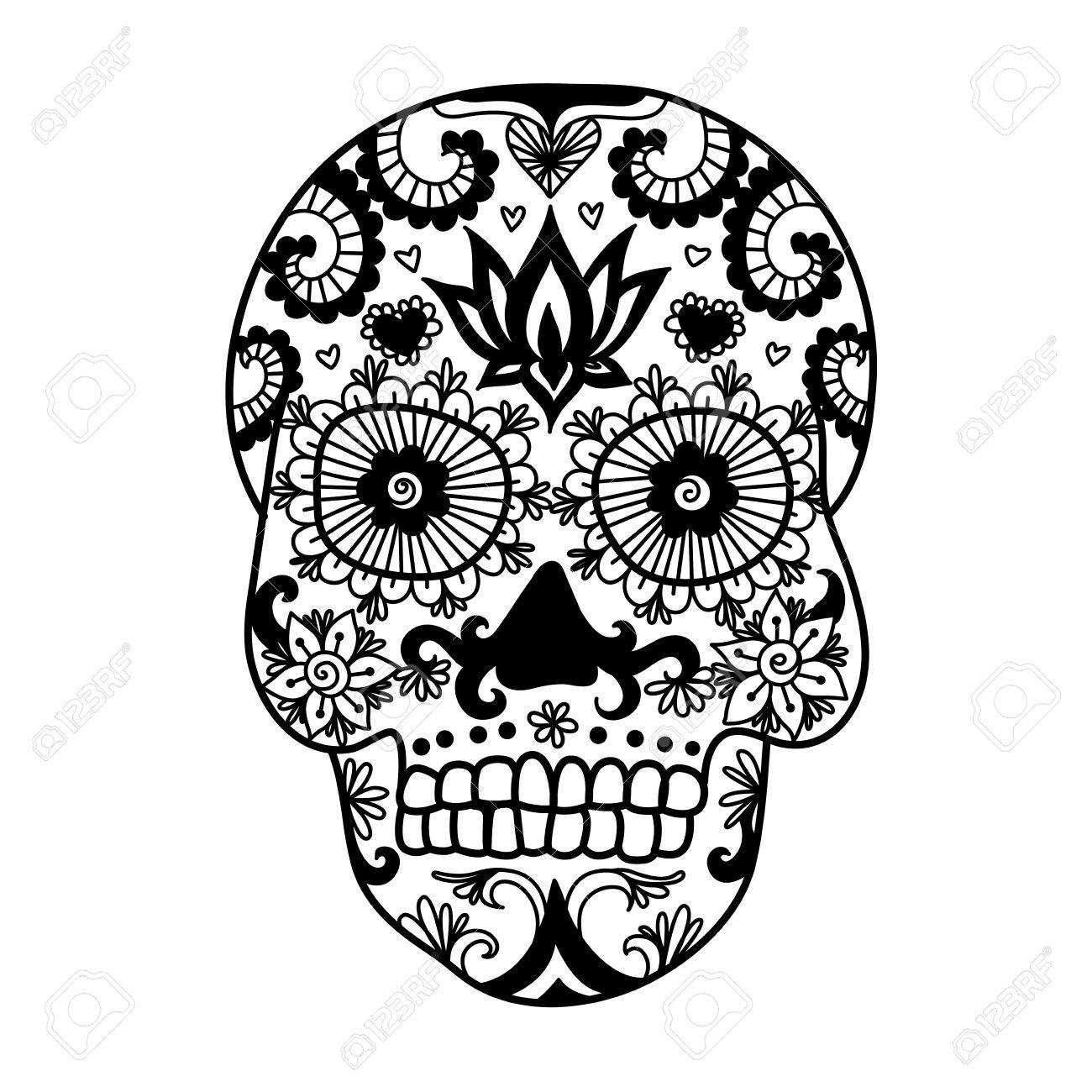 Las Líneas Del Diseño Del Arte Del Cráneo único Para Colorear ...