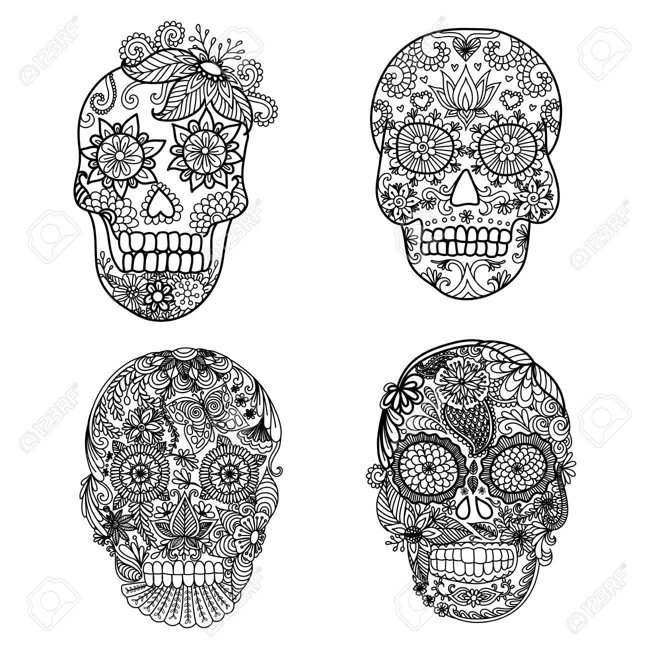 - Lines Art Design Of Unique Skull For Adult Coloring Pages,tattoo