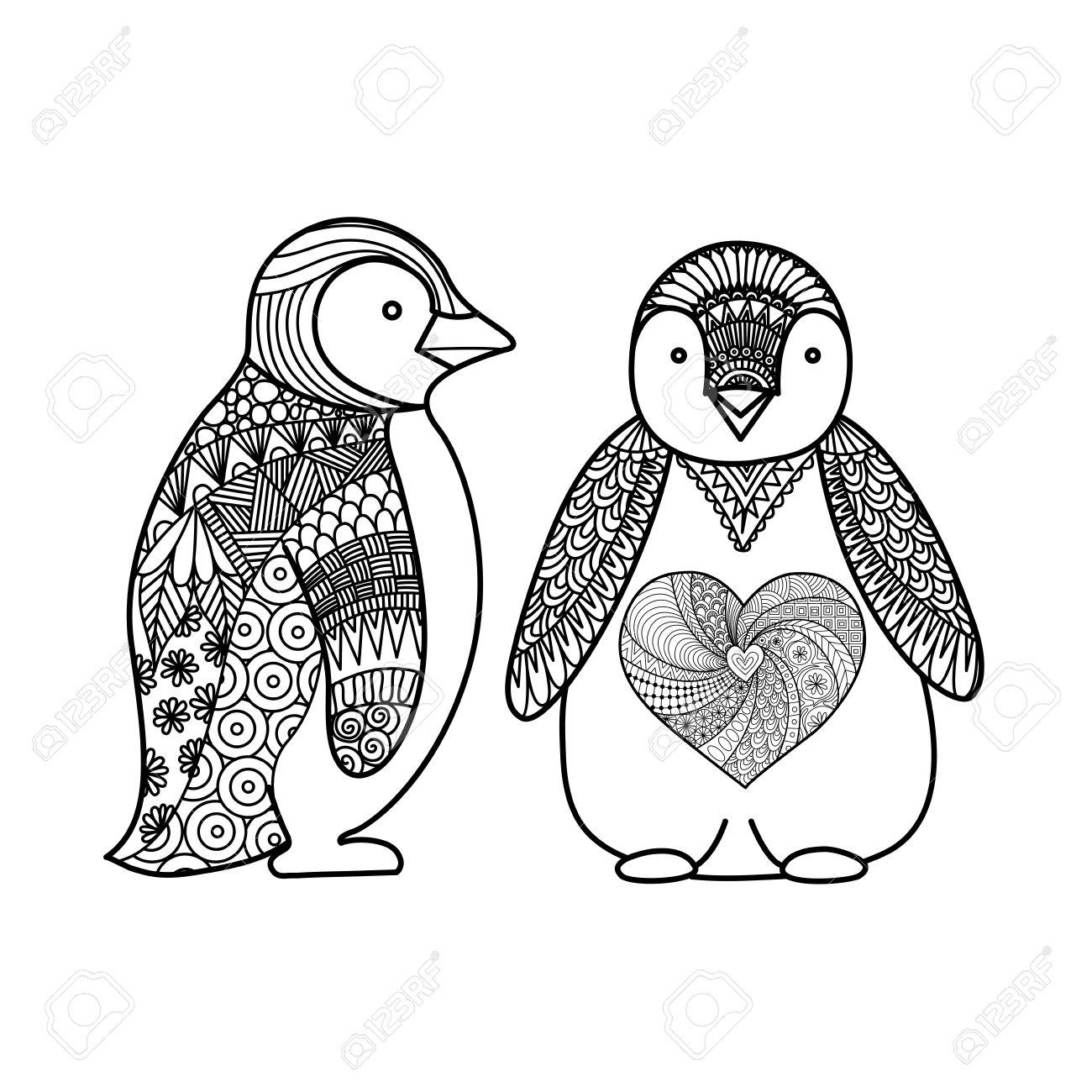 Dos Pingüinos Línea De Diseño De Arte Para Colorear Para Los Adultos ...