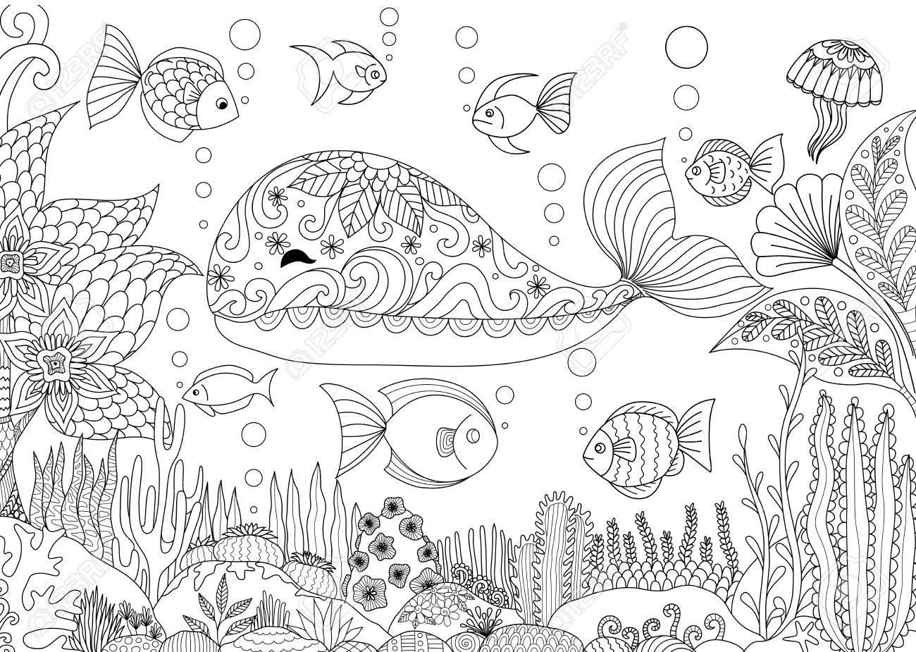 Doodles Diseño De Una Pequeña Ballena Bajo El Mar Con Hermosos ...