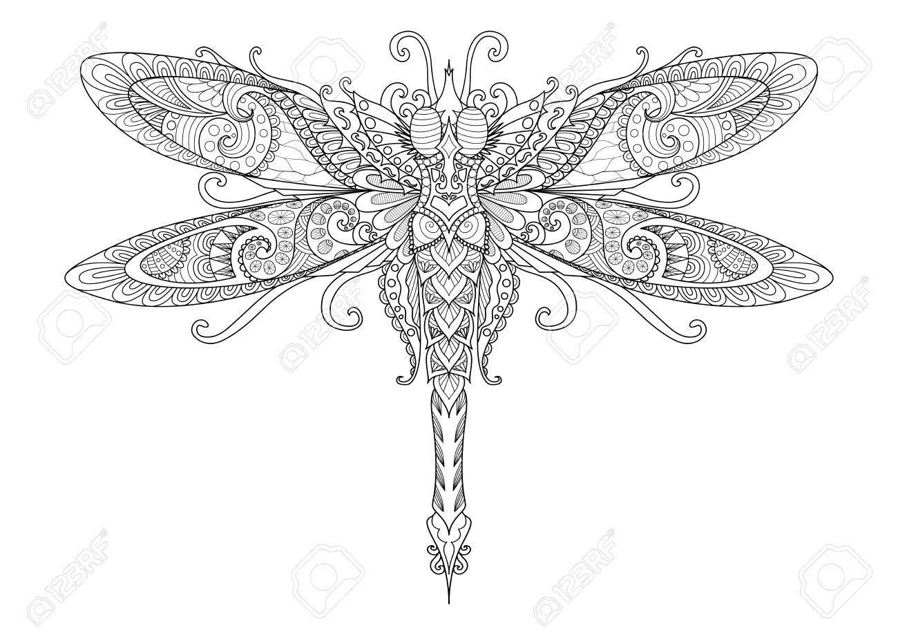 Doodles Del Diseño De La Libélula Para El Tatuaje, Elemento De ...