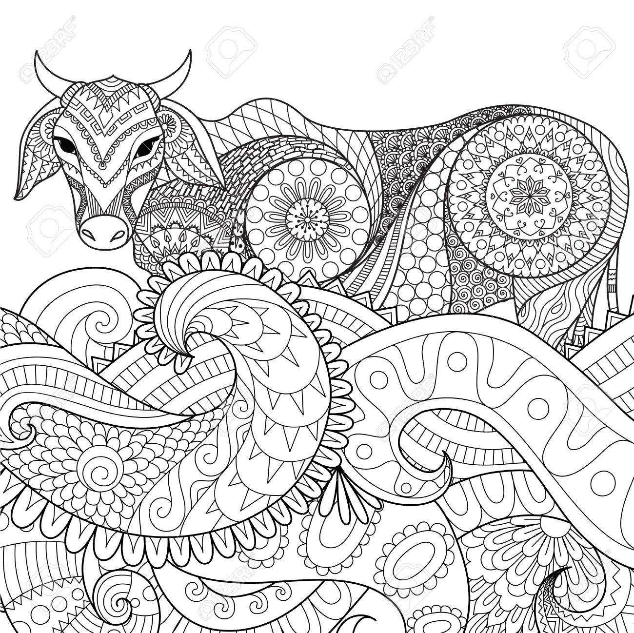 Zendoodle Design Of Cow Swimming In The Ocean For Adult Coloring