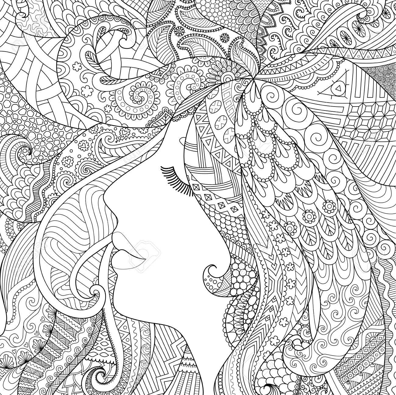 Zendoodle Design Of Girl Sleeping With Shadow Effect For Adult