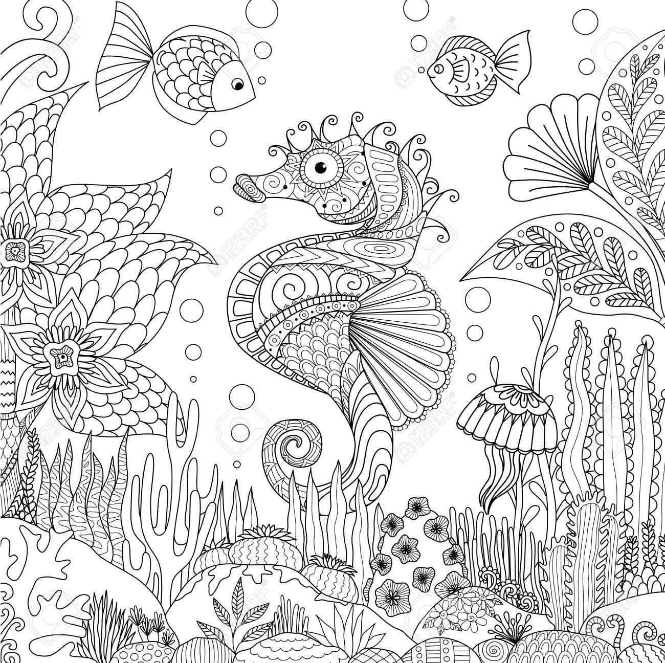 Zendoodle Diseño De La Natación Caballito De Mar Bajo El Océano Está ...