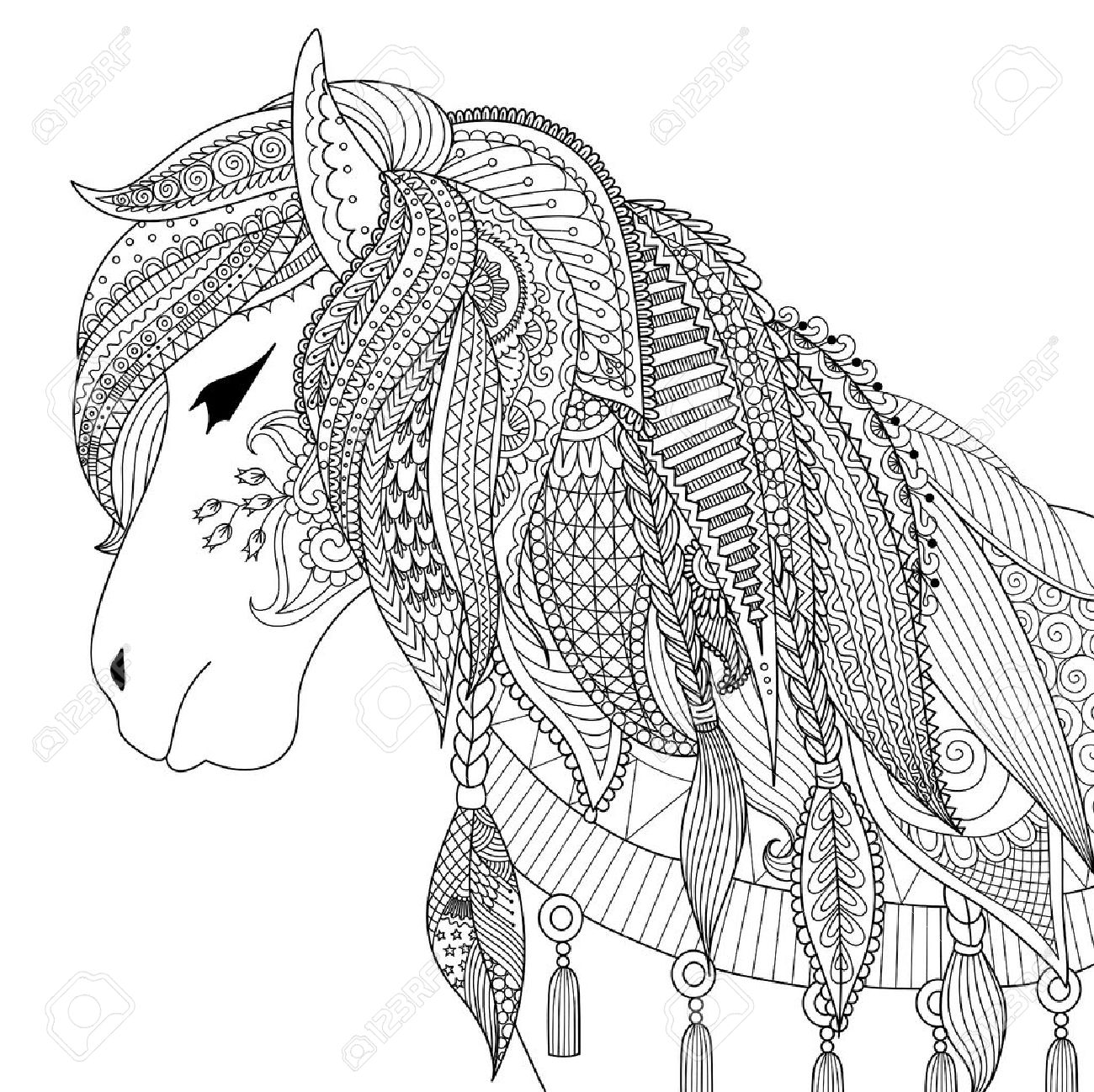zendoodle design of horse for coloring book for anti stress