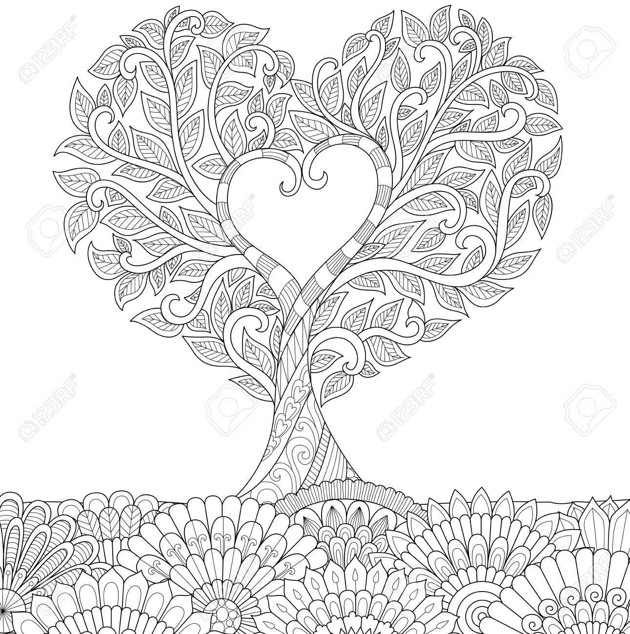 Zendoodle Diseño Del Amor Del Ejemplo Treefor Y Adultos Para ...
