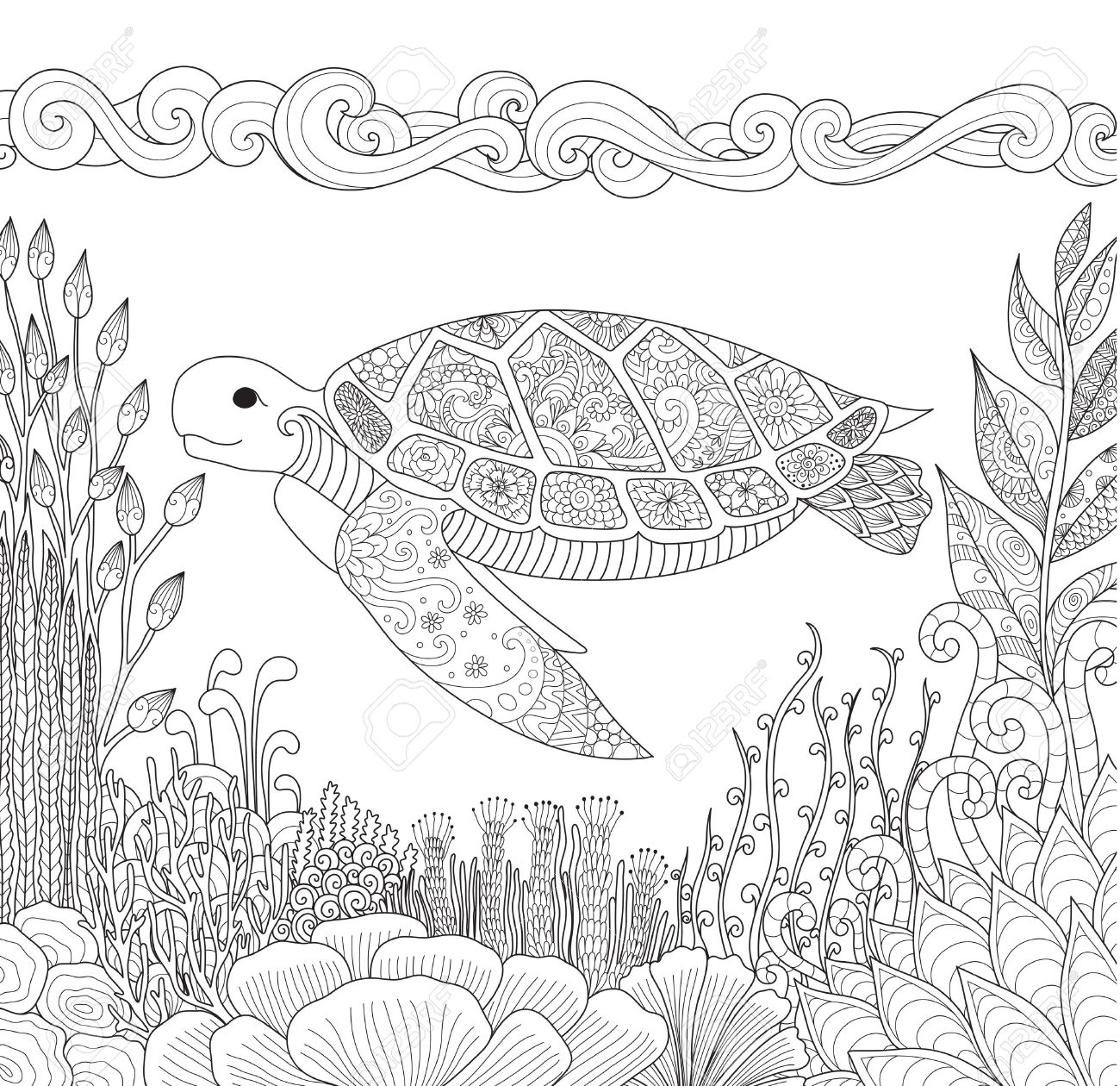 Zen ocean colouring book - Zendoodle Design Of Turtle Swimming In Ocean And Beautiful Corals For Adult Coloring Book For Anti