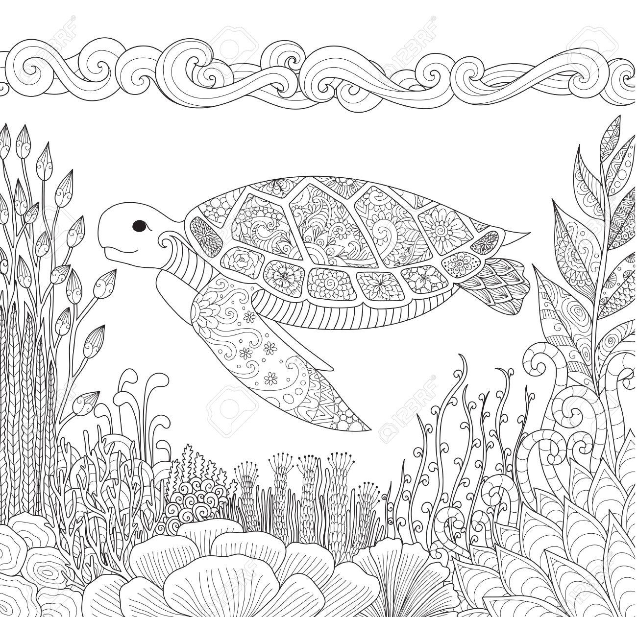 Zendoodle Diseño De Tortuga Nadando En El Océano Y Bellos Corales Para Colorear Para Los Adultos Anti Estrés Imagen Vectorial