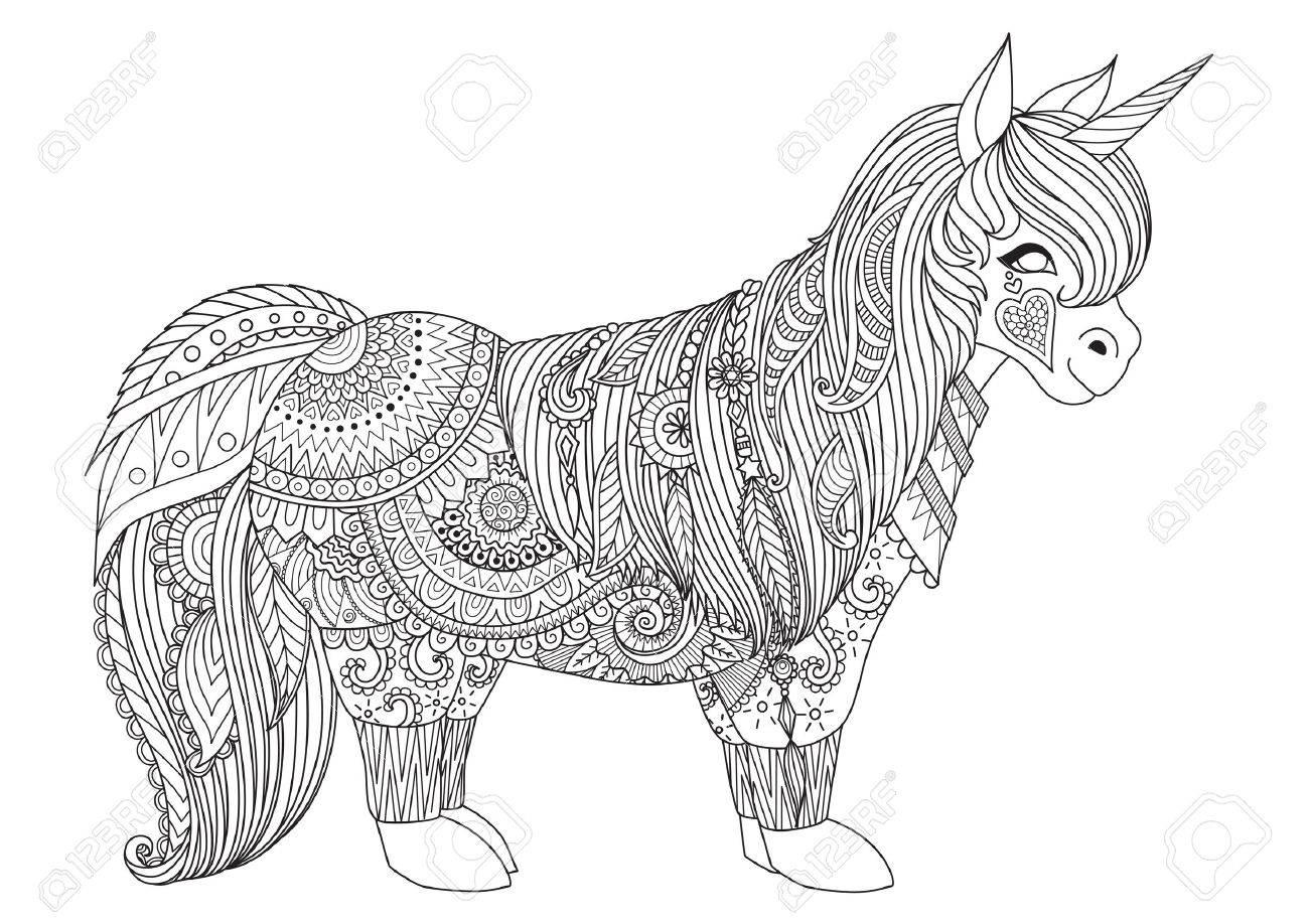 Zentangle Inspirierte Entwurf Des Glücklichen Kleinen Pony Für ...