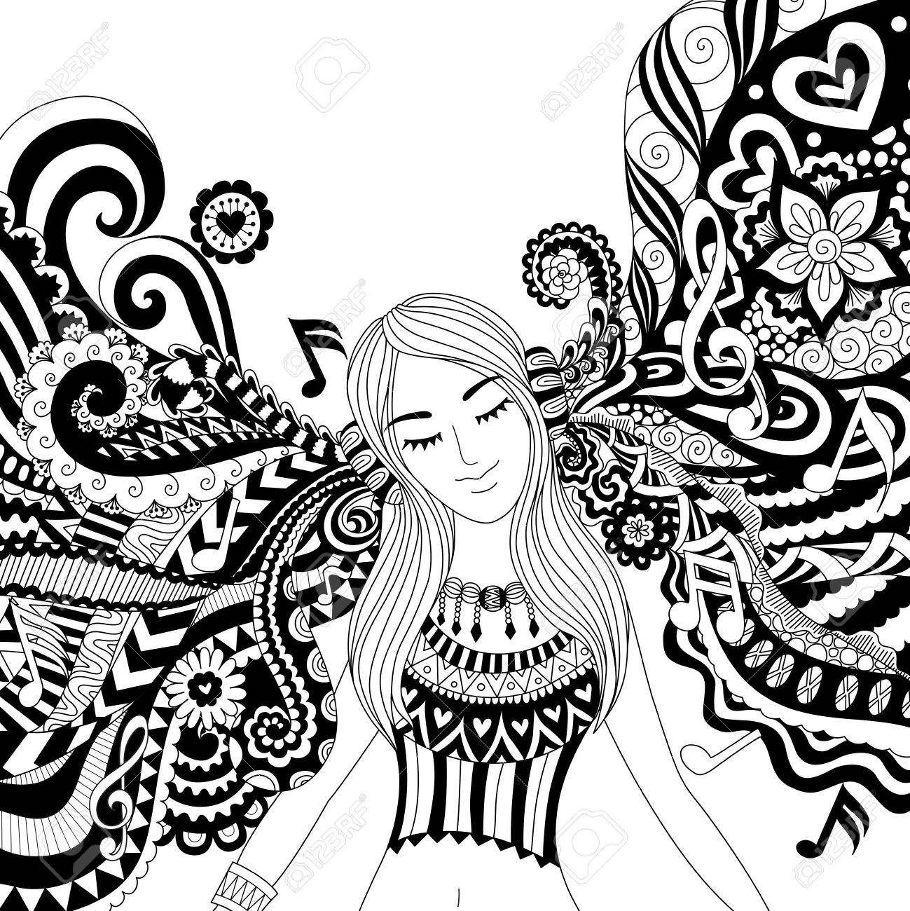 Girl listening to music happily zendoodle design for banner , card, T shirt , adult coloring book pages - 68153960