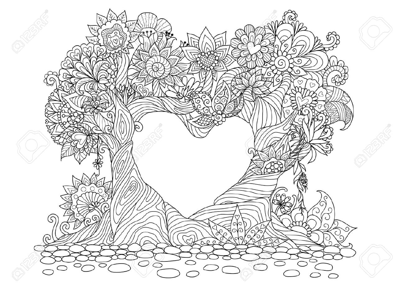 Flowers in heart shape on floral ground line art design for coloring book for adult, tattoo, T- Shirt graphic, cards and so on - 69259182
