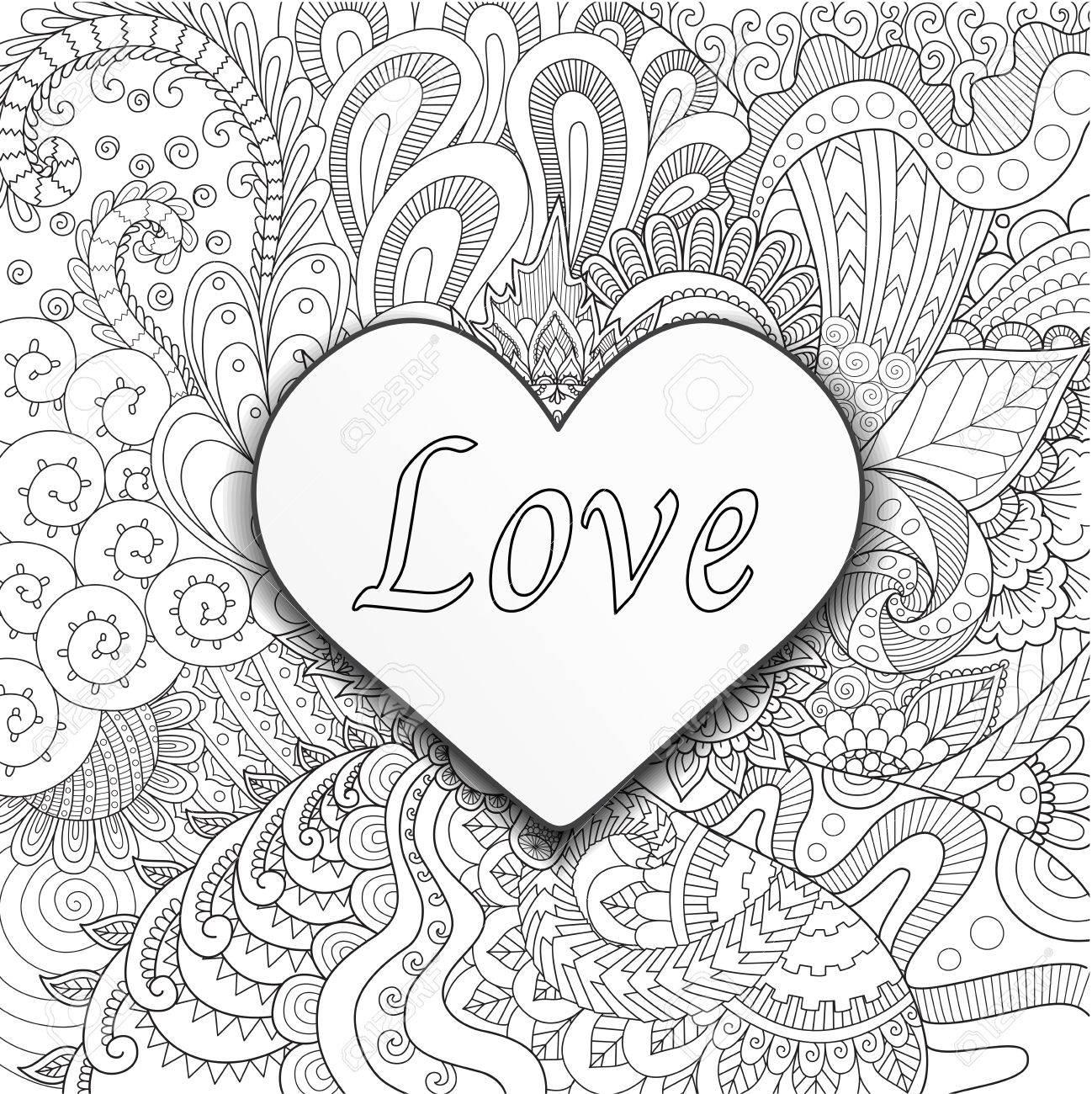 Corazón En Las Flores Para Colorear Libros Para Adultos O Tarjeta
