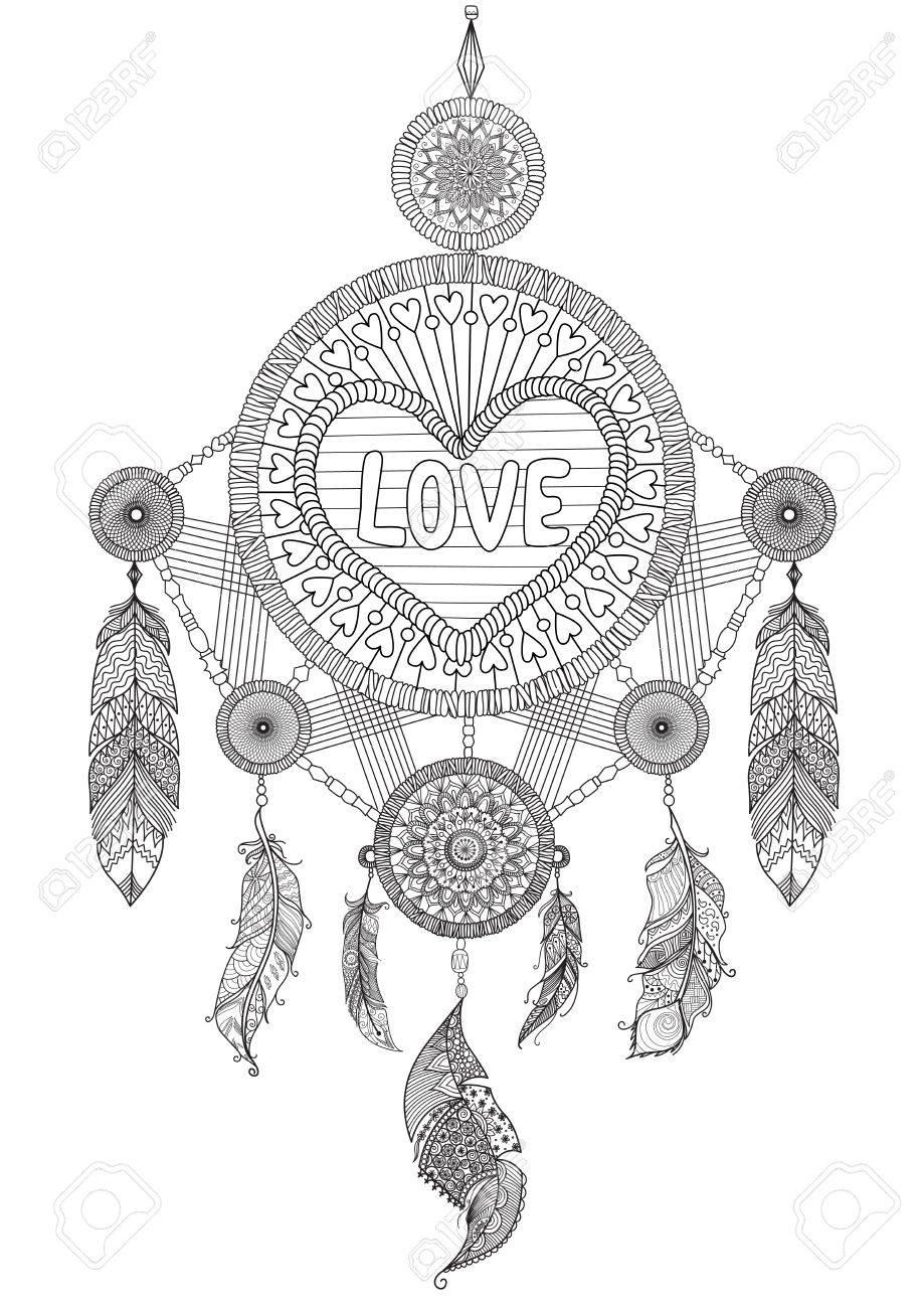 Coloriage Coeur Mariage.Attrapeur De Reve En Forme De Coeur Avec De Belles Plumes Pour Un Livre A Colorier Pour Adultes Invitation De Mariage Et Carte De Valentine