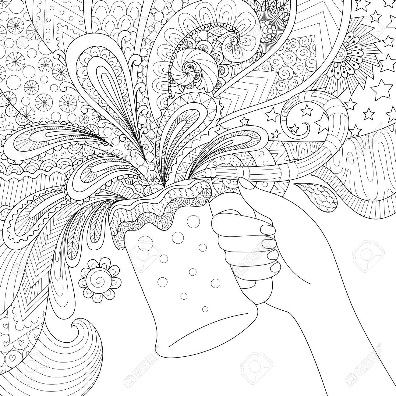 Zendoodle Design Of Hand Holding A Glass Beer For Adult Coloring