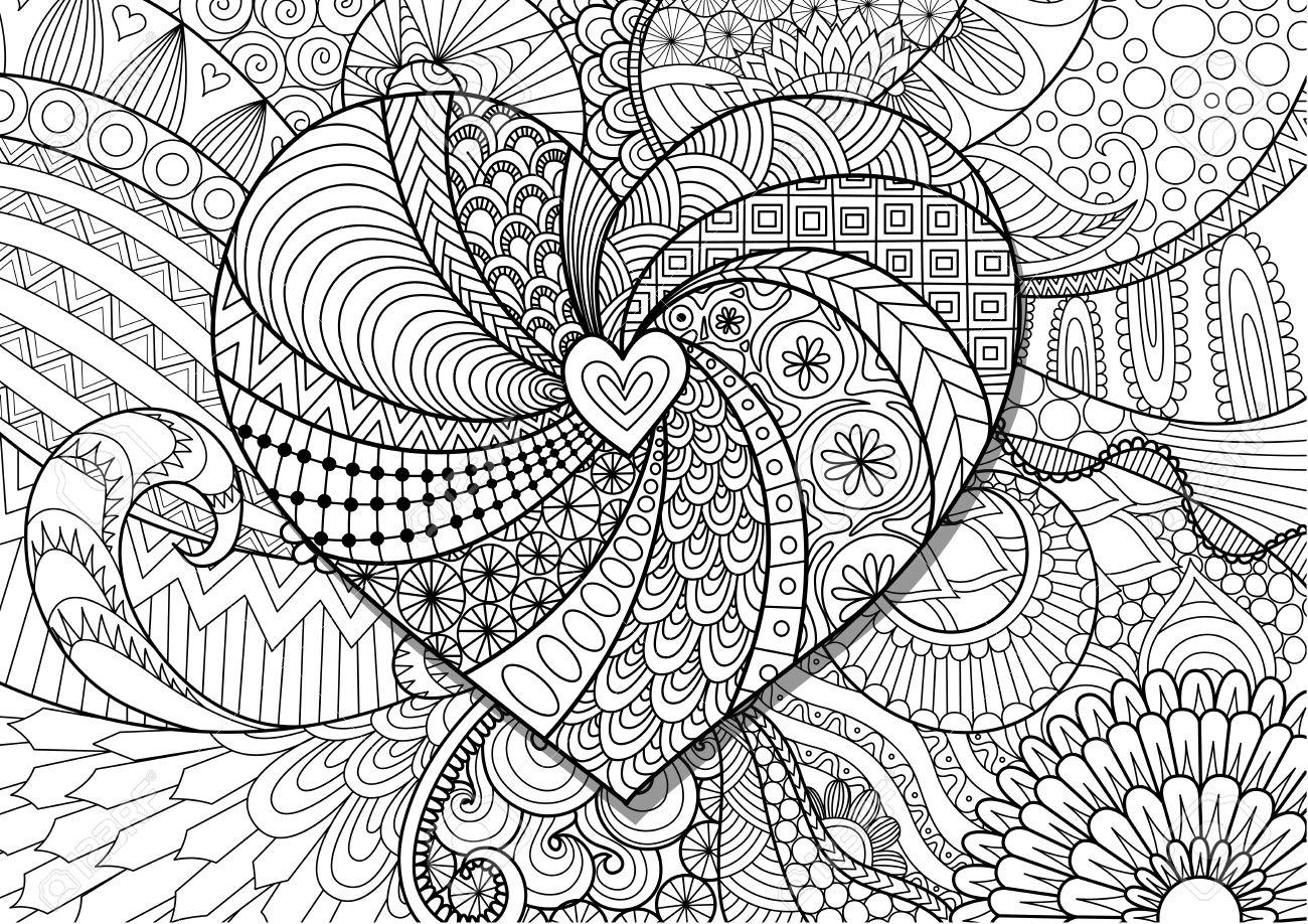 Forme Dentee Sur Fond Floral Pour La Page De Coloriage Pour Adultes Clip Art Libres De Droits Vecteurs Et Illustration Image 71449882