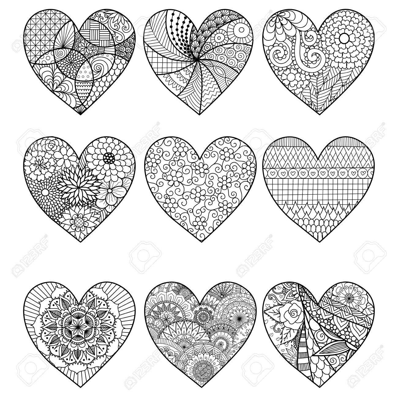 Coloriage Adulte Coeur.Zendoodle De Neuf Coeur Pour La Page De Livre De Coloriage Adulte Et