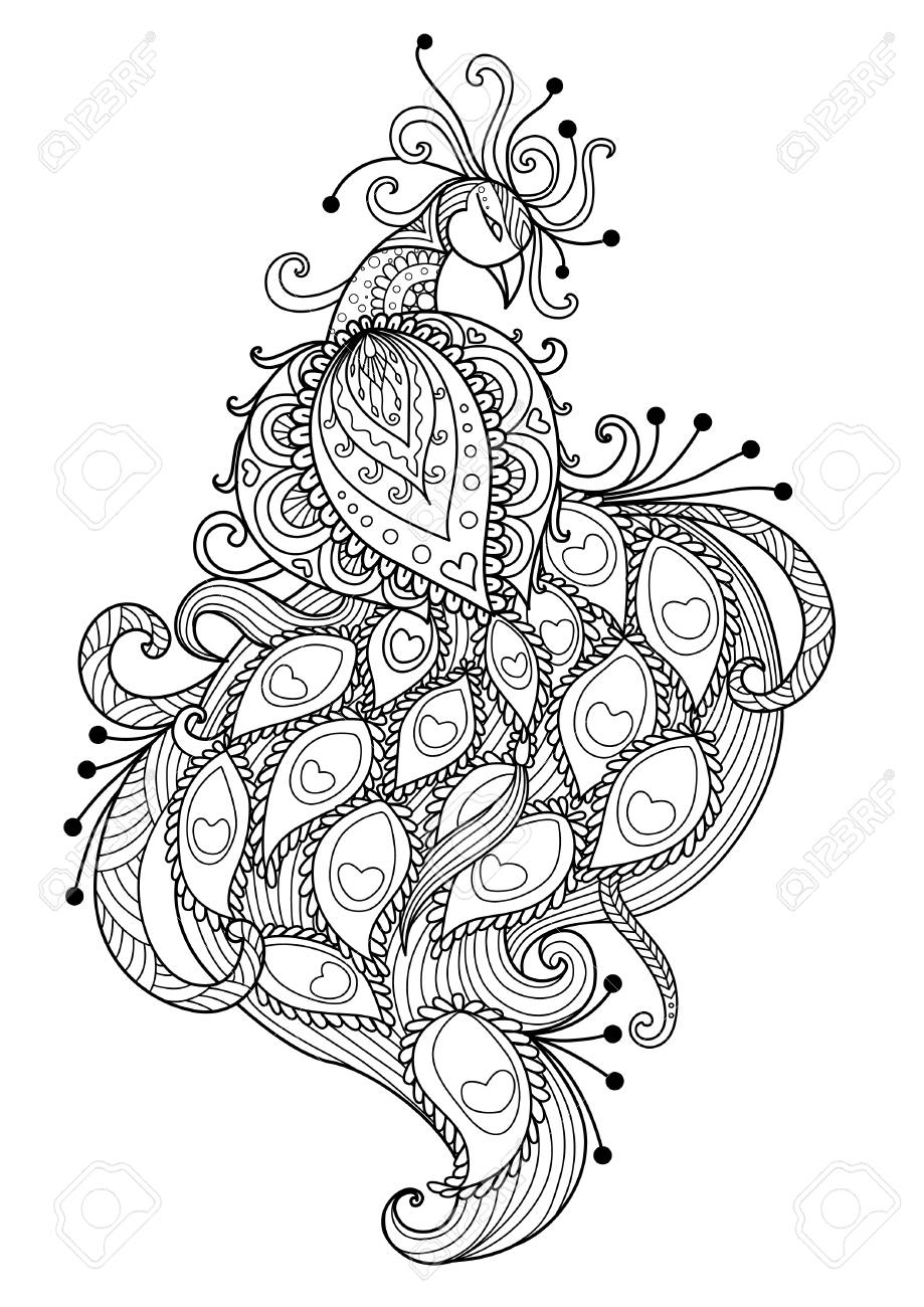Line Art Design Of Beautiful Peacock For Adult Coloring Book Page And Other Element Stock