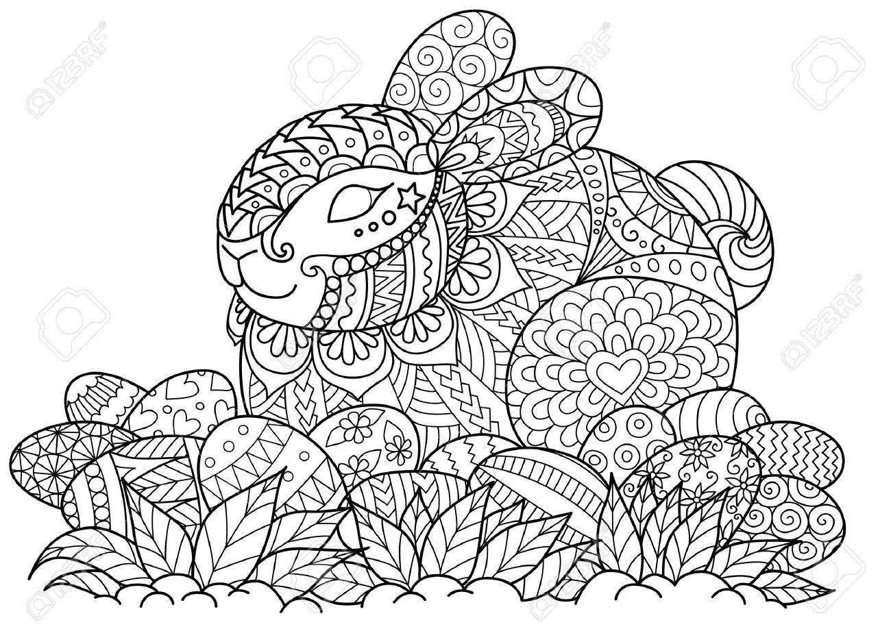 Little Bunny Sitting On Easter Eggs For Adult Coloring Book Page ...