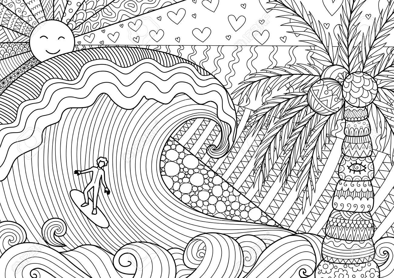 Man surfing on big wave design for adult coloring book page and other design element - 72204712