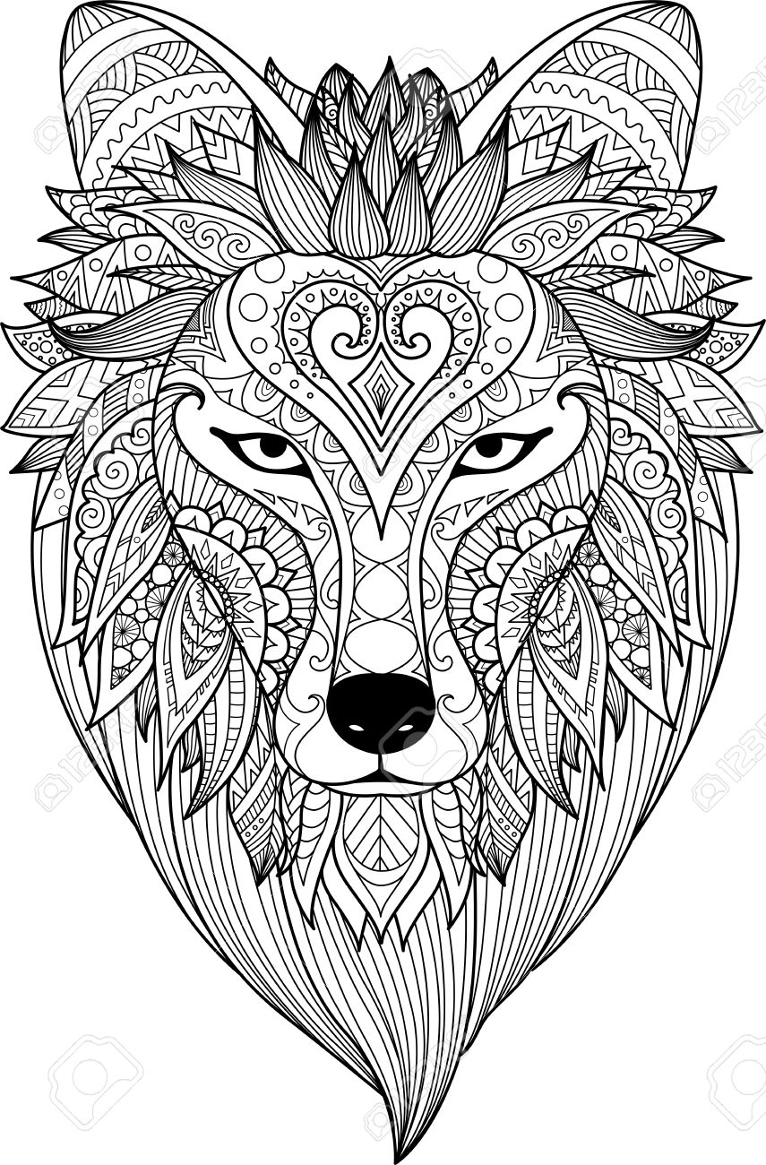 Zendoodle stylize of dire wolf face for adult coloring book page..