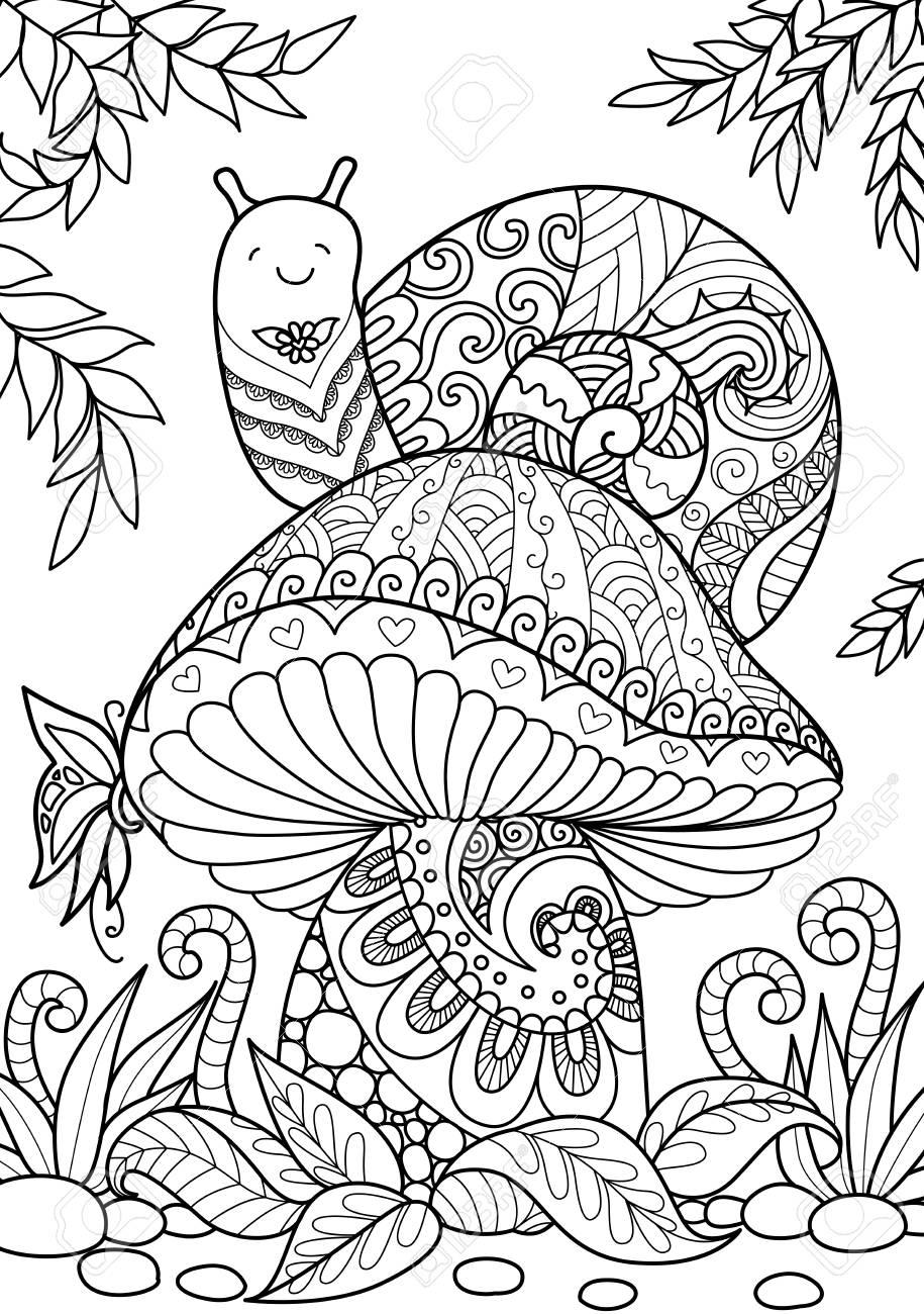 Cute snail sitting on beautiful mushroom - 90583700