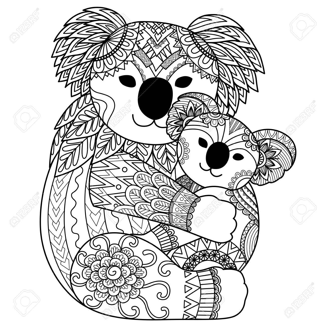 Koala Ours Mère étreignant Son Bébé Pour La Page De L élément De Design Et Coloriage