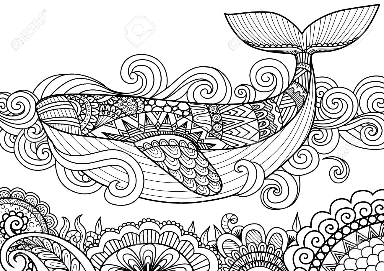 Giant Beautiful Whale Swimming In The Ocean Over Coral Design For Coloring Book Page