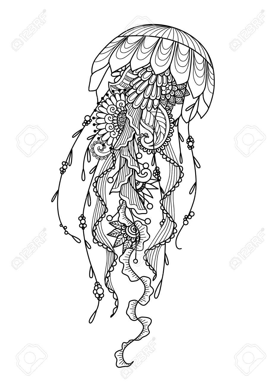 Zendoodle Of Jellyfish For Coloring Page And Design Element Royalty