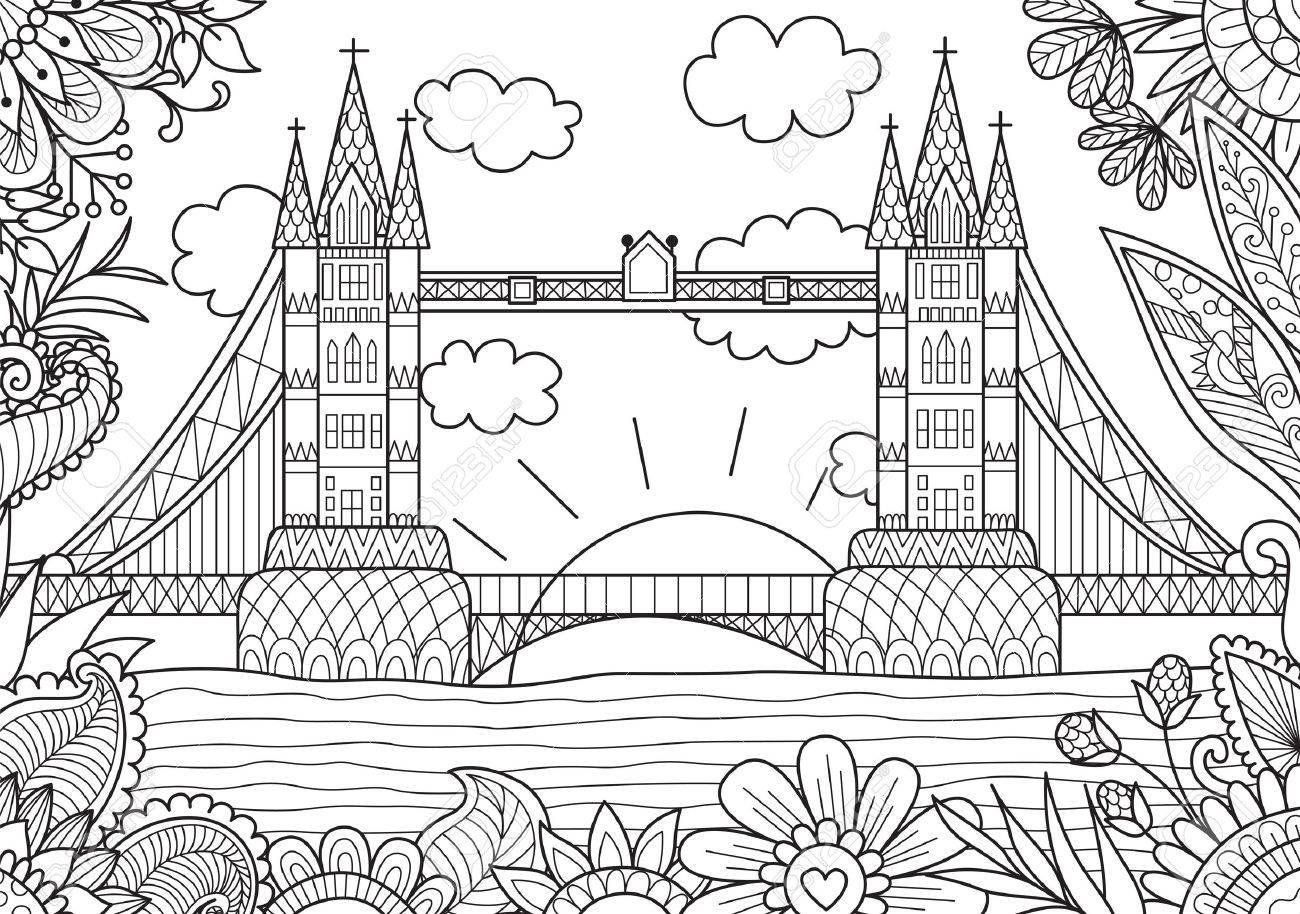 Primavera En Londres Para Colorear Página Del Libro Para Adultos