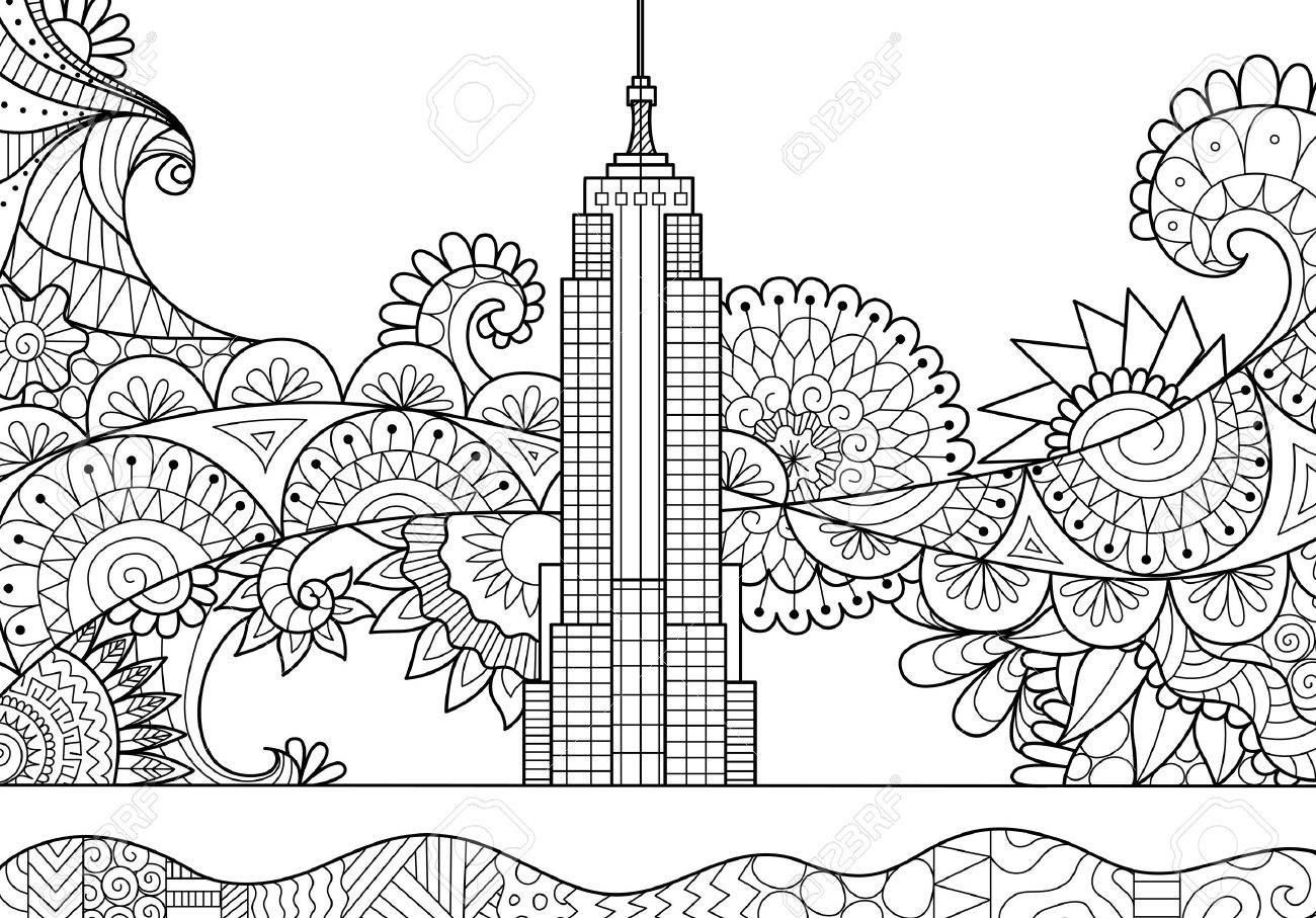 Spring In New York City For Adult Coloring Book Page Stock Vector