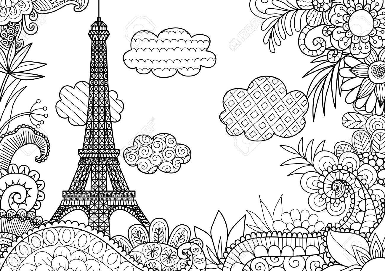 Primavera En París Para La Página De Libro Para Colorear ...