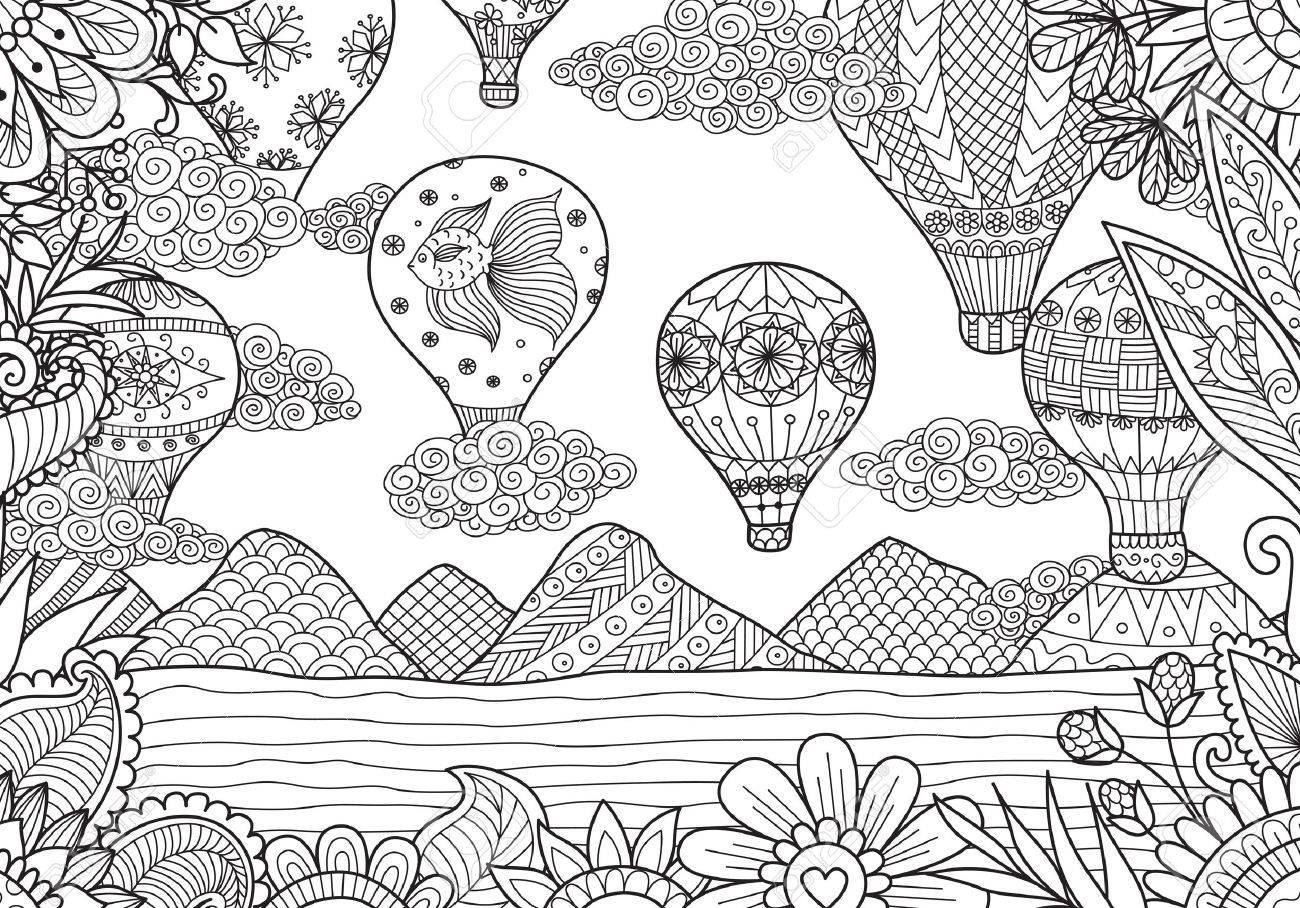 Coloriage Adulte Ete.Montgolfieres Volant En Ete Pour La Page De Livre De Coloriage Adulte Vecteur Stock