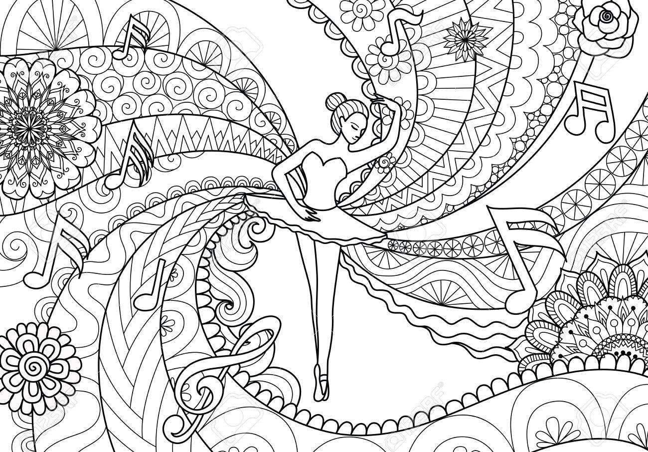 Zendoodle Diseño De Bailarina De Ballet Para Las Páginas Del Libro