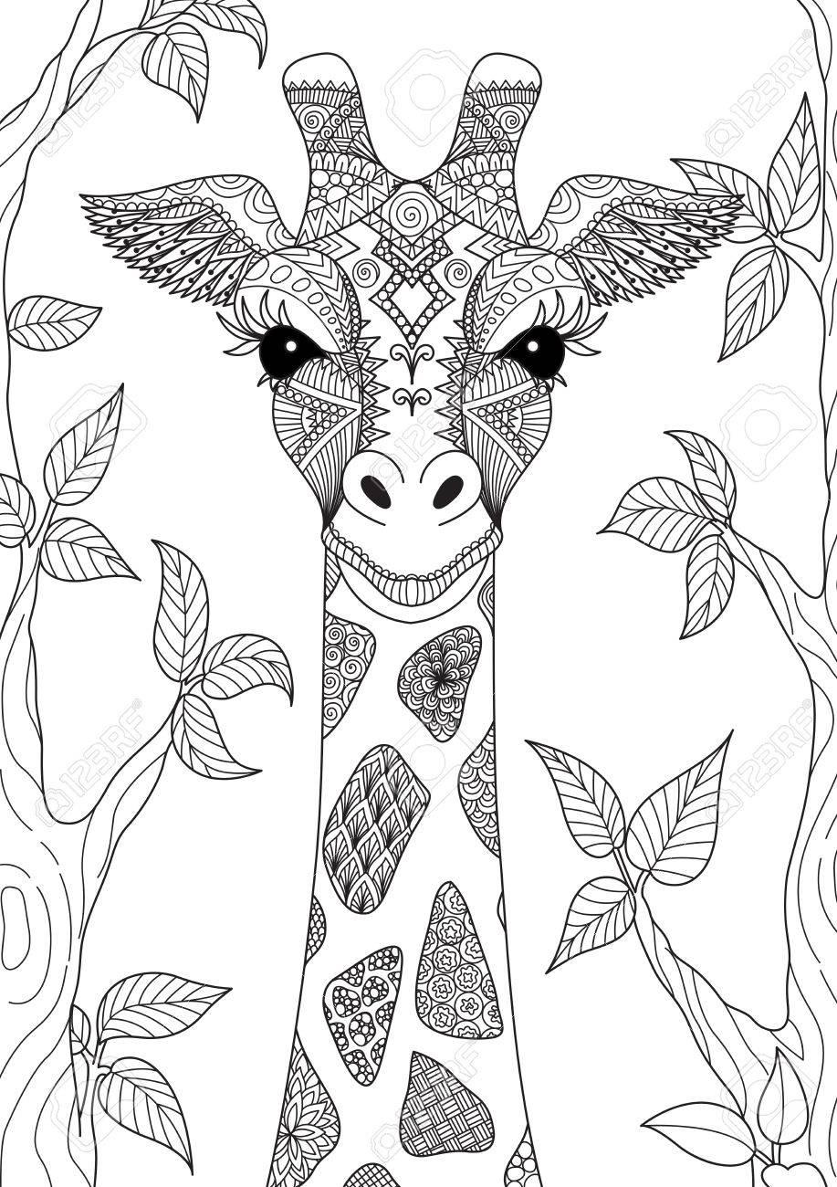Coloriage Tete De Girafe A Imprimer.Zendoodle Design De La Tete De Girafe Dans La Foret Pour La Page De