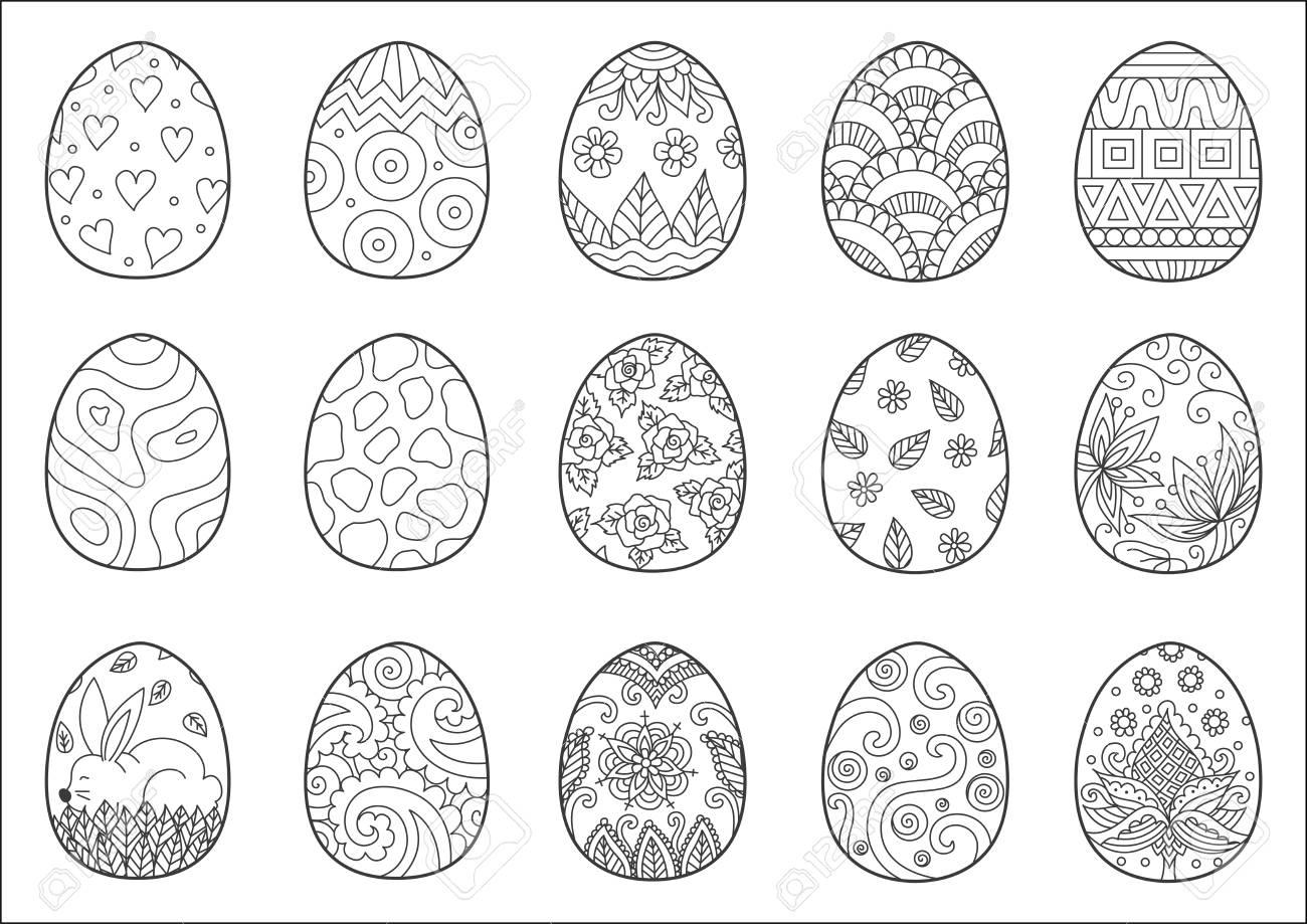Zendoodle Diseño De Huevos De Pascua Para Colorear Página Del Libro Para  Adultos Ilustraciones Vectoriales, Clip Art Vectorizado Libre De Derechos.  Image 75248705.